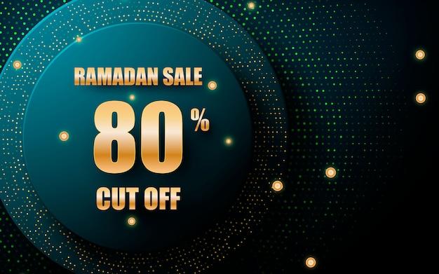 Blue circle layer ramadan sale background