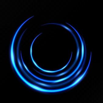 파란색 원 조명 효과 프리미엄 벡터