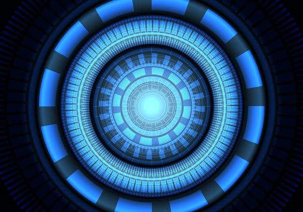 Blue circle light power system energy technology background.