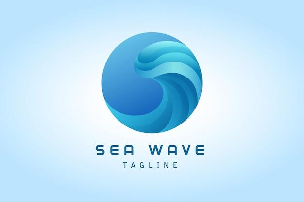 파란색 원 바다 물결 그라데이션 로고