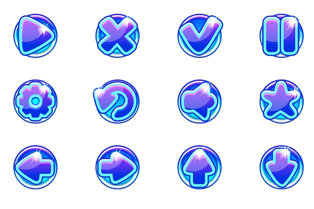 Blue circles collection set glass buttons for ui