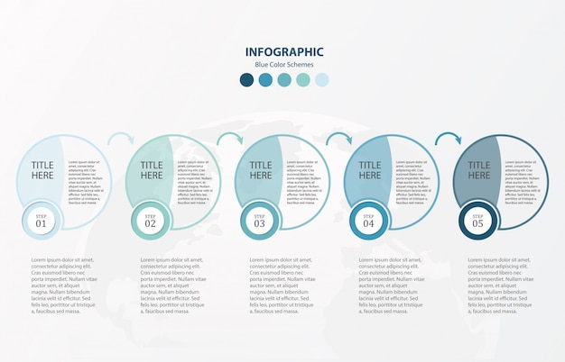 Blue circles infographics 5 options template.