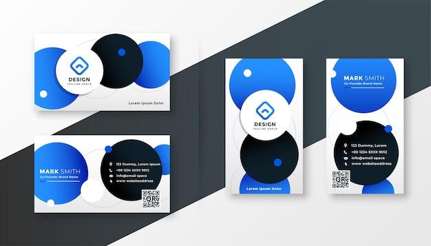青い円のモダンなビジネスカードのデザインテンプレート