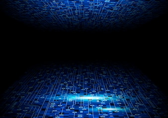 Blue circuit board background design for digital technology