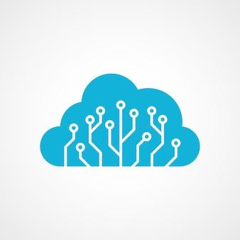 雲の形をした青い回路基板