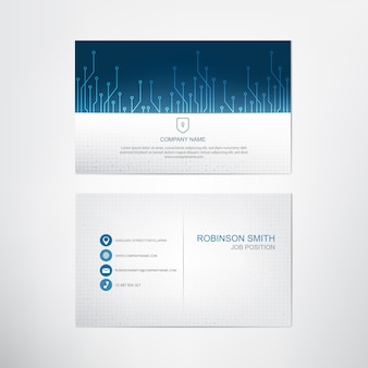 Blue circuits business card template,contact and company card design,vector.