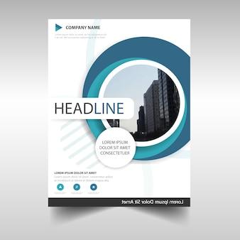 Blue circular annual report book cover template
