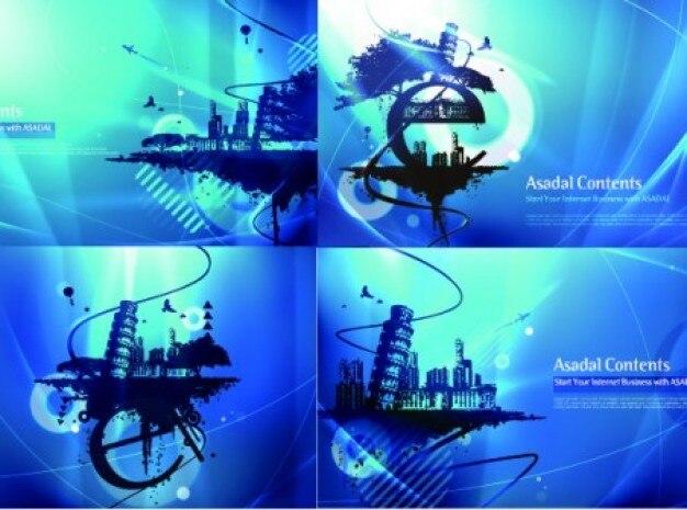 Blue cities backgrounds set