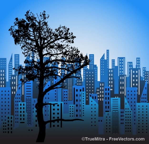 Blue city with tree