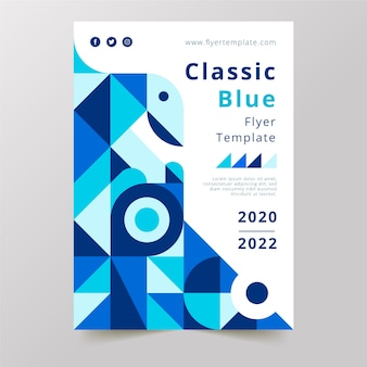 Blue classic shapes design and white background with text poster