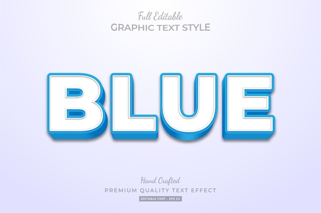 Blue clean editable text effect font style
