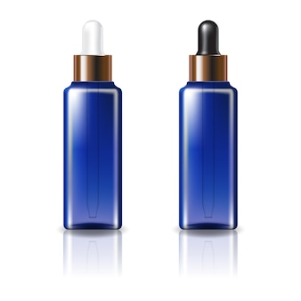 白と黒の銅製のドロッパー蓋付きの青い透明な四角い化粧品ボトル。