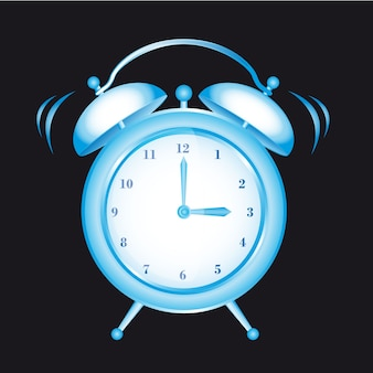 Blue clock alarm isolated