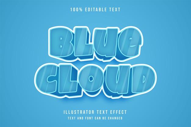 블루 클라우드, 3d 편집 가능한 텍스트 효과 블루 그라데이션 만화 스타일