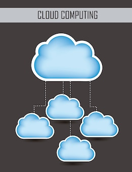 Blue cloud computing over gray background vector illustration
