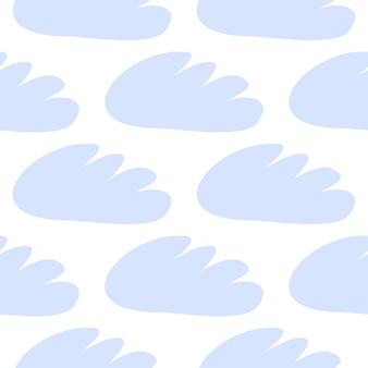 青い雲のシームレスなパターン。白い背景の上の子供向けの生地、壁紙、ベクトルデザインの赤ちゃんのイラスト。