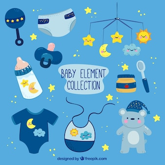 Blue collection of baby elements with yellow details
