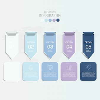 Blue color arrow infographics and icons