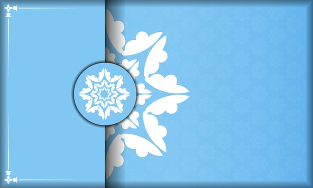 Blue color background with abstract white ornament for design under your logo or text
