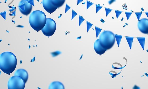 青い色の風船の背景。
