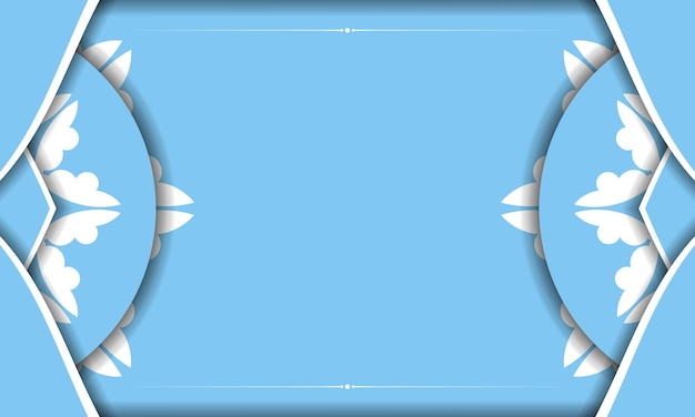 あなたのテキストの下のデザインのためのインドの白いパターンと青い色のバナーテンプレート