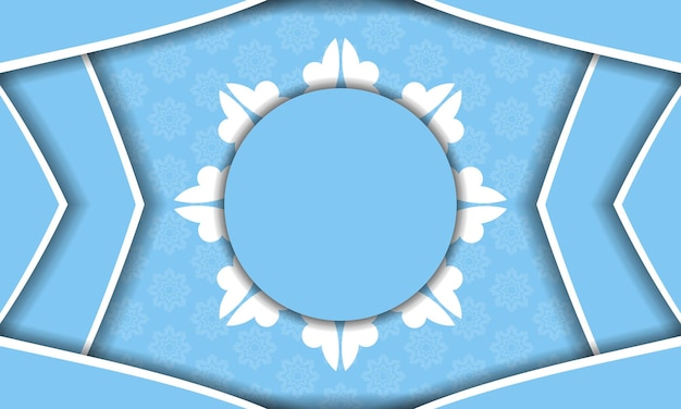 Blue color banner template with mandala white pattern for design under your text