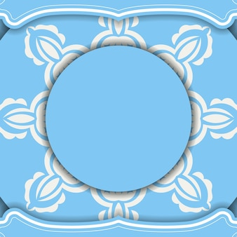 Blue color banner with abstract white pattern for design under your logo