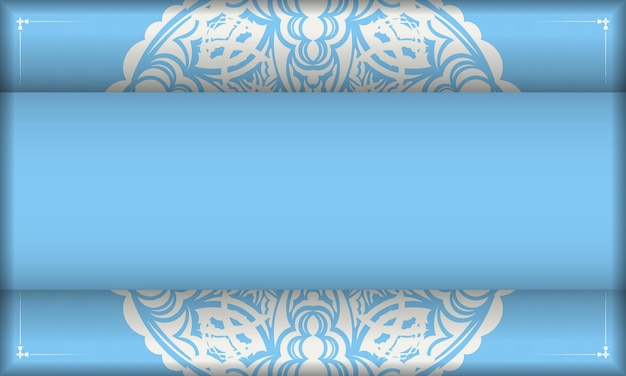 Blue color banner with abstract white pattern for logo design
