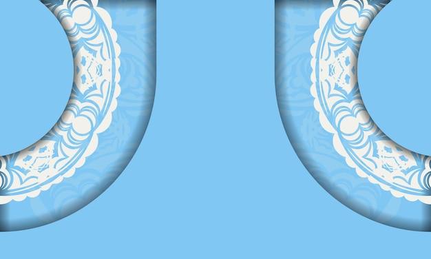Blue color banner with indian white pattern for logo design