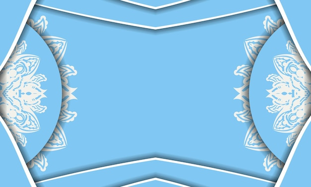 Blue color banner with vintage white pattern for design under the text