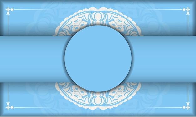 Blue color banner with vintage white pattern for logo design