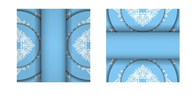 Blue color brochure template with abstract white ornament for your brand.
