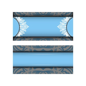Blue color brochure template with indian white ornament for your congratulations.
