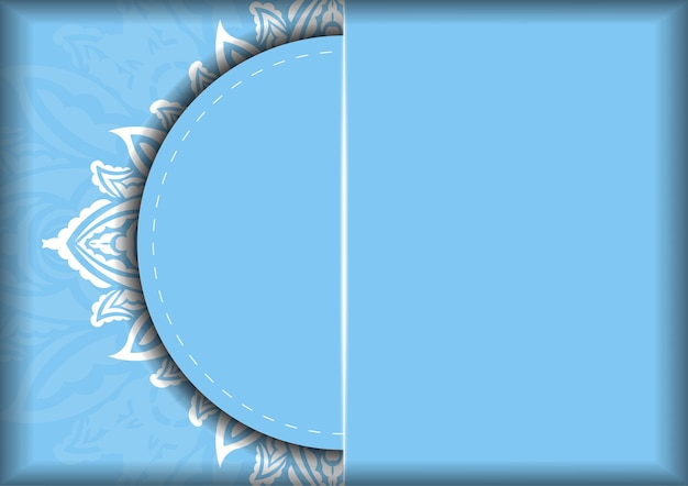 Blue color brochure template with indian white ornaments prepared for typography.