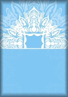 Blue color brochure template with indian white ornaments for your brand.