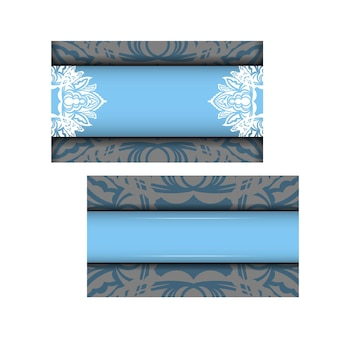 Blue color brochure template with indian white ornaments for your design.