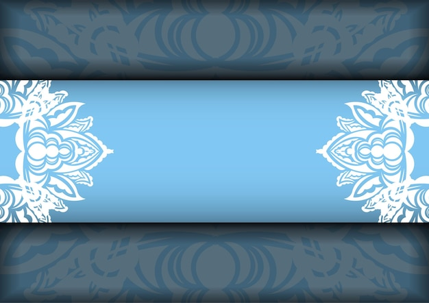 Blue color brochure template with indian white pattern for your brand.