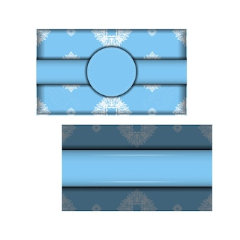 Blue color brochure template with indian white pattern for your congratulations.