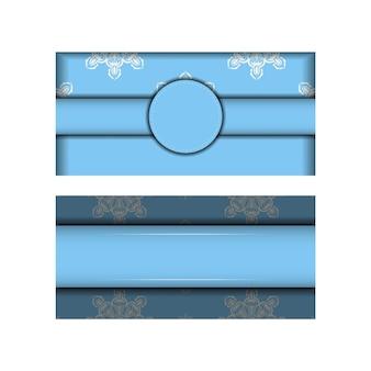 あなたのデザインのためのインドの白い装飾品が付いている青い色のパンフレット。