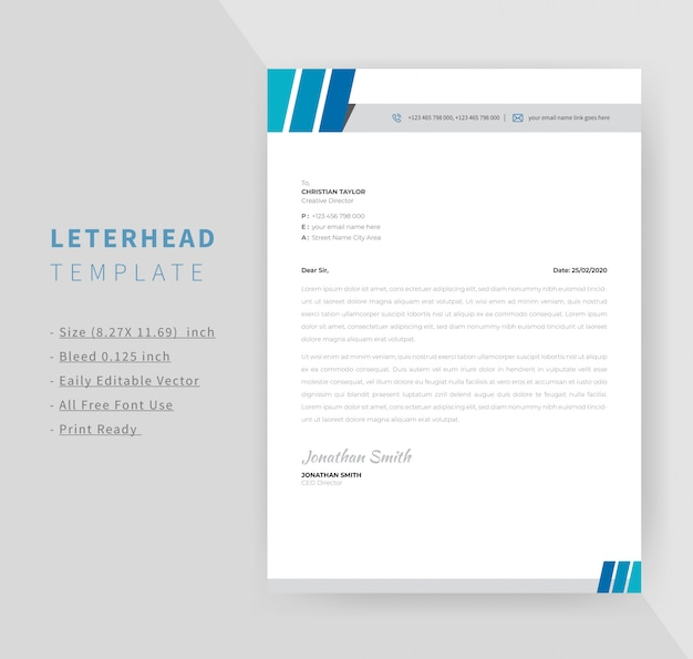 Blue color business style letterhead template design