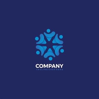 青い色のコミュニティの人々のデザインテンプレート