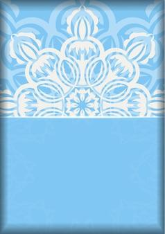 タイポグラフィ用に用意されたヴィンテージの白い装飾が施された青い色のチラシ。