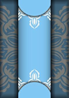 あなたのブランドのためのヴィンテージの白いパターンの青い色のチラシ。