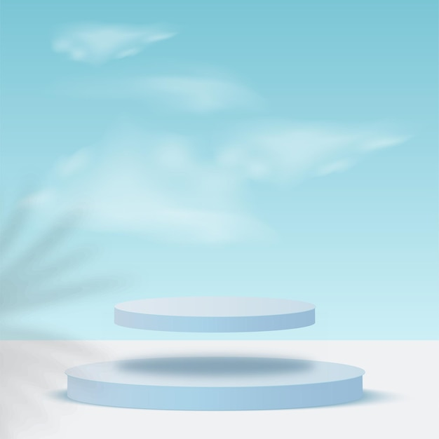 Blue color geometric 3d sky podiums.