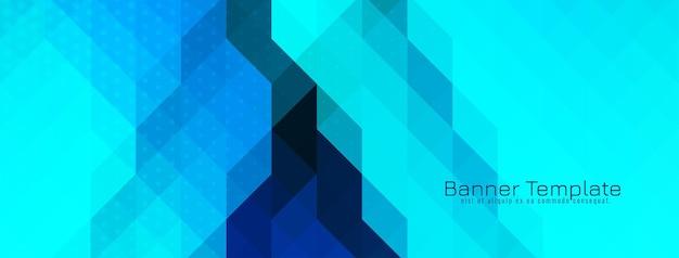 青い色の幾何学的な三角形のモザイクパターンバナーデザインベクトル