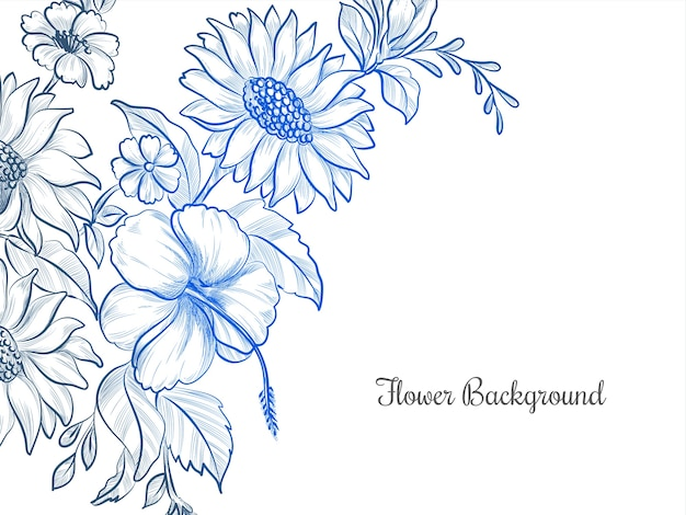 파란색 손으로 그린 꽃 디자인 배경