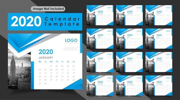 青い色の新年2020卓上カレンダー