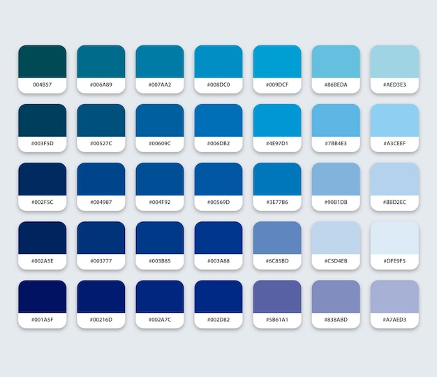 六角形の青いカラーパレット