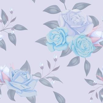ローズと青い色のシームレスなパターンデザイン