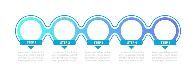 Blue colored circles steps infographic template